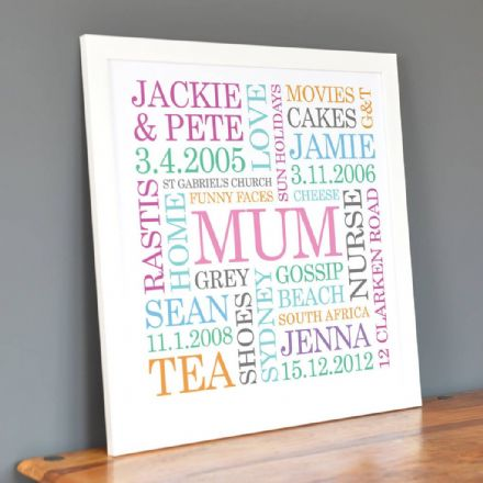 Personalised Mum Word Art